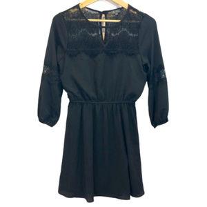 Lily Rose Black 3/4th Sleeve Dress - M